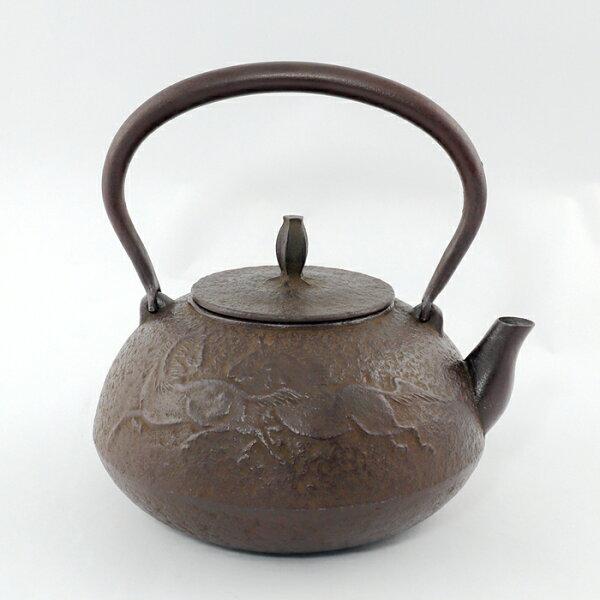 日本鑄鐵壺南部鐵器-【佐藤勝久平丸型馬1.1L】鐵壺鉄瓶煮水泡茶