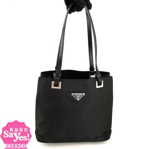 【奢華時尚】PRADA 黑色防水帆布三角牌肩背雙層托特包(八成新) #20531