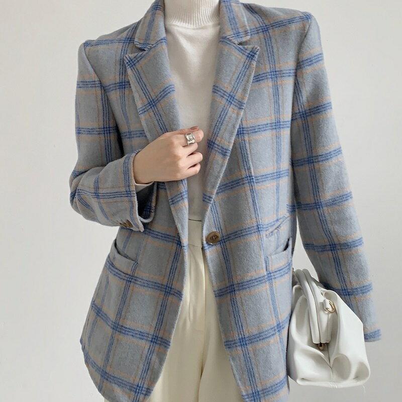 毛呢大衣羊毛外套-單粒扣修身翻領短版女外套3色73wb32【獨家進口】【米蘭精品】 2