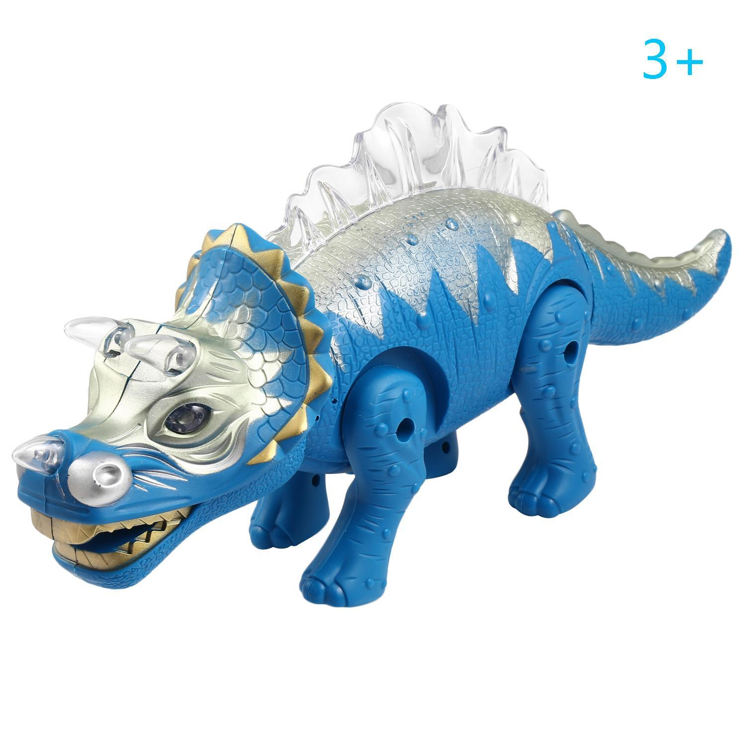 Battery Powered Triceratops Dinosaur Toy Realistic with Sounds Fun Lights Walks and Roars 0