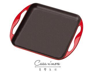 Le Creuset 鑄鐵 烤盤 煎鍋 無條紋 24x24 紅 法國製