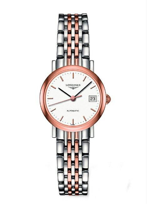 LONGINES L43095127雙色玫瑰金優雅女仕機械腕錶/白面25.5mm