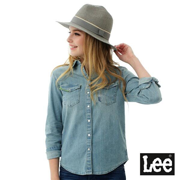 【2017 春夏新品7折】 Lee 牛仔Vintage Laundry百搭易配襯衫-女-藍色