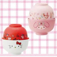 美樂蒂My Melody周邊商品推薦到凱蒂貓 Kitty 美樂蒂 Melody 美耐皿 湯碗茶碗組 湯蓋 飯碗 日本進口正版 319860