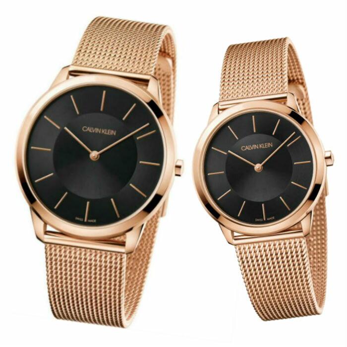 大高雄鐘錶城 CK Calvin klein 卡文克萊 Minimal系列(K3M2162Y+K3M2262Y )時尚米蘭腕錶/ 黑面40+35mm