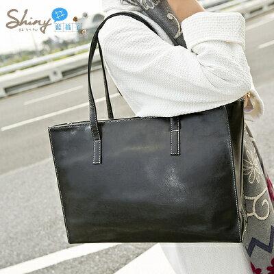 【P032】shiny藍格子-歐美時尚‧春夏新款大方包複古大容量單肩包手提包