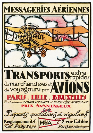 Aviation-Poster-1919-Nposter-For-A-French-Airline-Depicting-A-Breguet-14-Passenger-Biplane-1919-Stretched-Canvas-24-x-36-