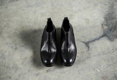 FINDSENSE服飾:FINDSENSEMD日系高品質時尚潮牛皮鬆緊帶高幫低跟休閒鞋短靴