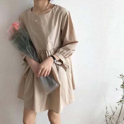 韓系日系女裝純色繫帶寬鬆娃娃連身裙樂天時尚館。預購。[全店免運]