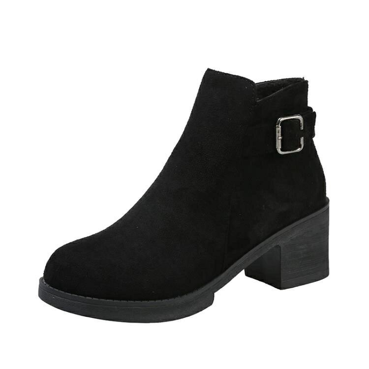 高跟短靴 2021秋冬季新款高跟小短靴女百搭網紅瘦瘦靴粗跟中跟短筒馬丁靴潮