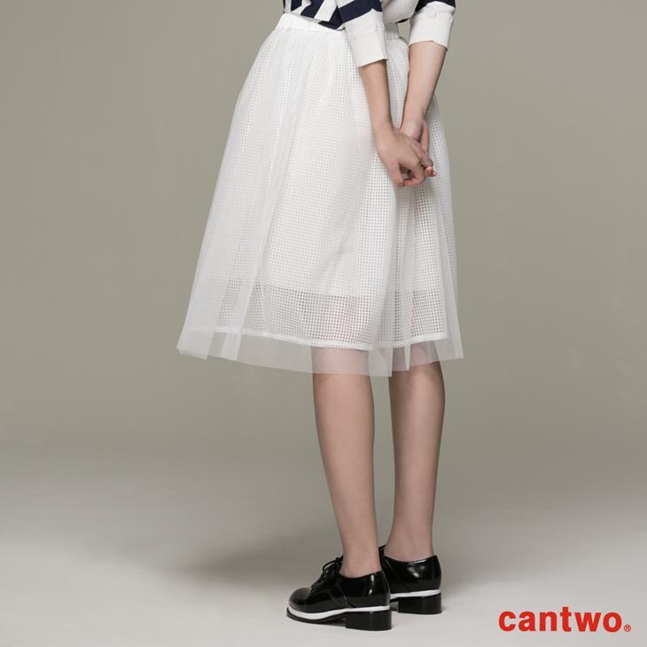 cantwo方格網紗多層及膝紗裙(共二色) 2