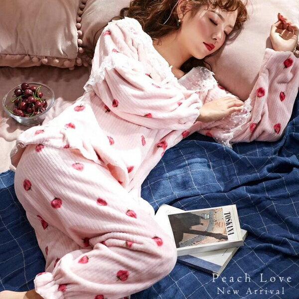 秋冬睡衣 甜美草莓兩件式睡衣+睡褲-保暖、居家服_蜜桃洋房 - 限時優惠好康折扣