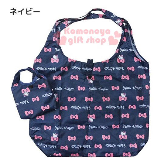 〔小禮堂〕Hello Kitty 環保 袋~藍.大臉.蝴蝶結.LOGO~可摺疊.附收納包