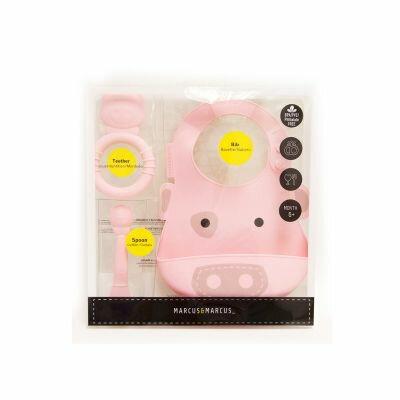 ★衛立兒生活館★加拿大 MARCUS&MASRCU 動物樂園矽膠哺育禮盒組-粉紅豬
