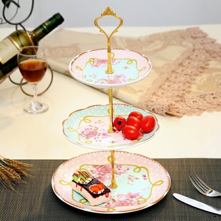 碟子 陶瓷水果盤創意玻璃下午茶客廳蛋糕架干果盤DF