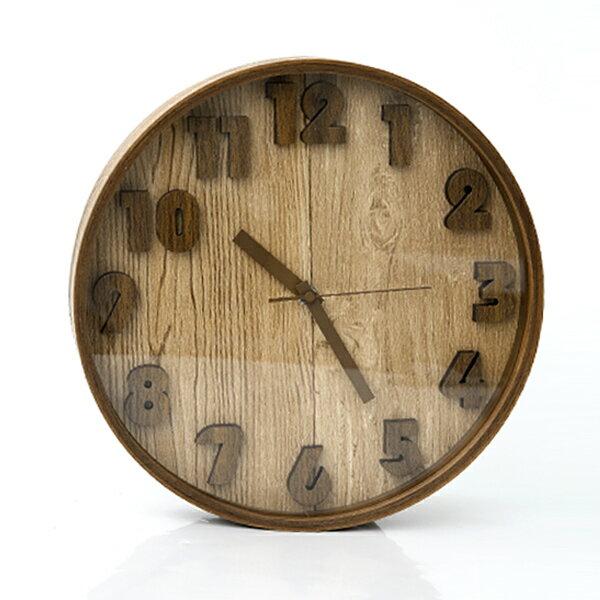 時鐘 優良原木立體數字掛鐘【NG41】柒彩年代