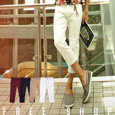 《Free Shop》Free Shop【AM1316】 彈力布料完美修身剪裁窄版素面休閒七分褲 ‧四色 現 預