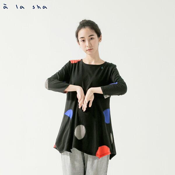 àlasha大圓緹織七分袖上衣