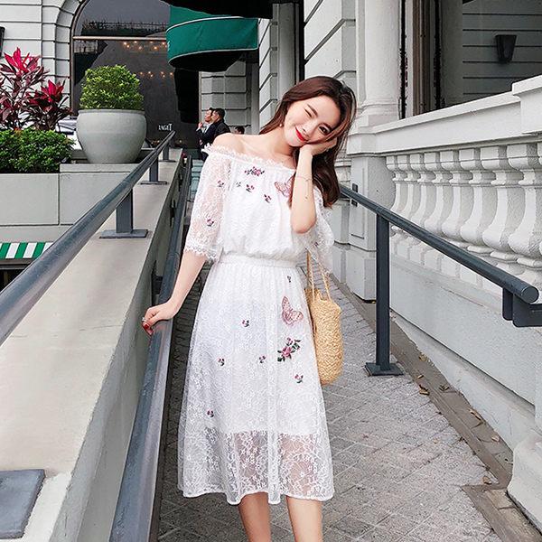 PSMall度假一字領喇叭袖收腰蕾絲繡花連身裙洋裝【T321】