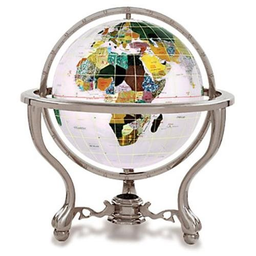 "6"" Gemstone Globe with Antique Silver Commander Table Stand - Opal Color"
