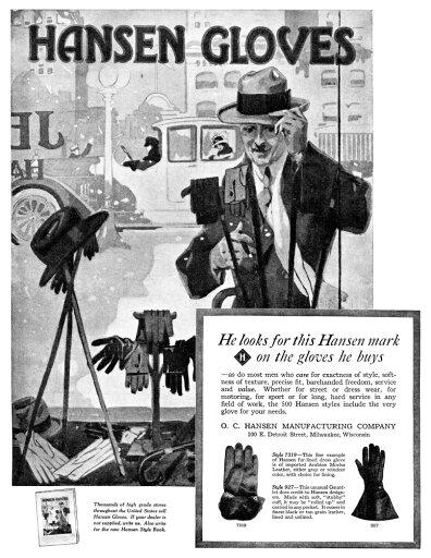 Ad Gloves 1918 Namerican Advertisement For Hansen Gloves Illustration 1918 Rolled Canvas Art - (24 x 36) 047e37fa36c9a632c702eae6b507d9b8