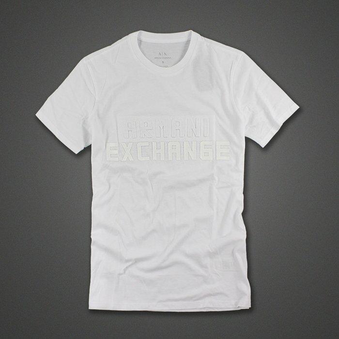 美國百分百【全新真品】Armani Exchange T恤 AX 短袖 logo 上衣 T-shirt 白色XS S M L XL號 H205
