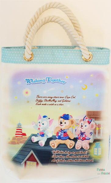 X射線【C002073】日本東京迪士尼代購-Duffy達菲15週年限定版手提袋,美妝小物包/筆袋/面紙包/化妝包/零錢包/收納包