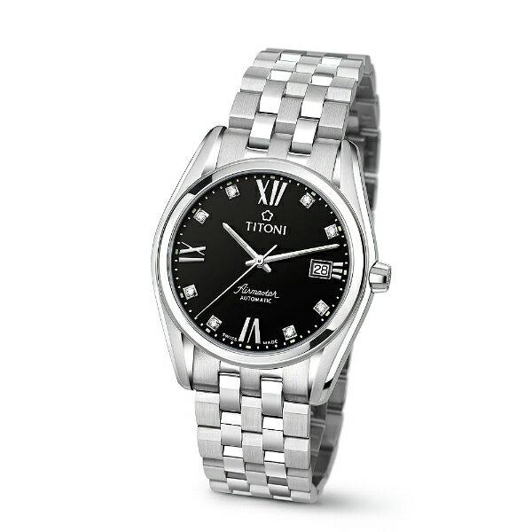 TITONI瑞士梅花錶83909S-354空中霸王經典機械腕錶/黑面39mm