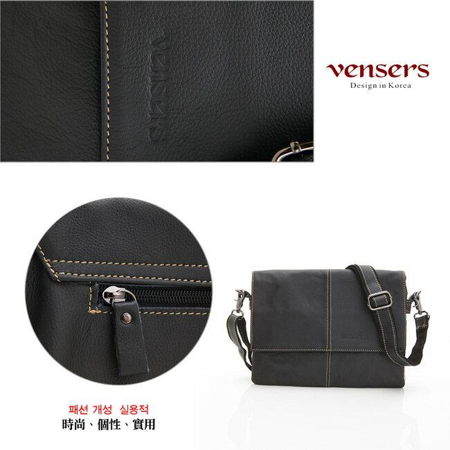 【Vensers】小牛皮潮流個性包~斜肩背包(N131001黑色) 4