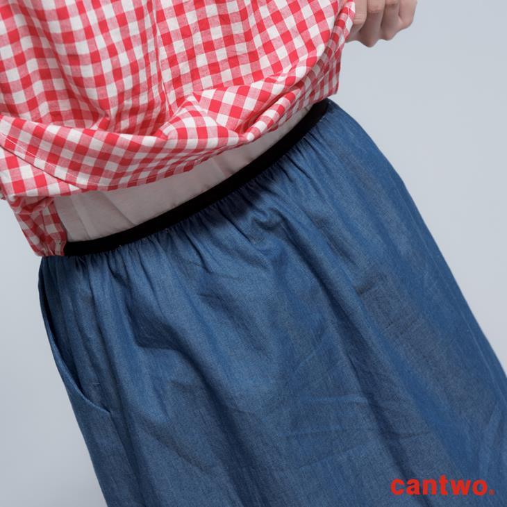 cantwo雙色格紋丹寧假兩件長袖洋裝(共三色) 5