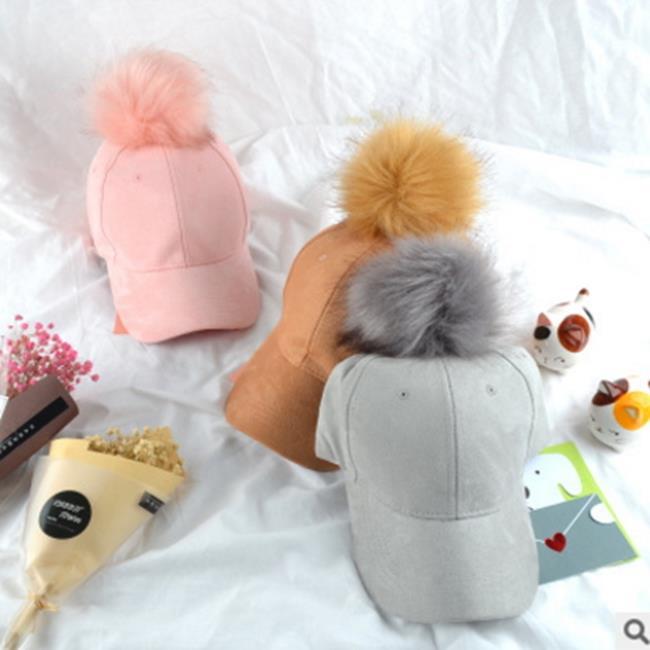 50%OFF【E017566H】韓國時尚大毛球麂皮絨棒球帽女士糖果色春秋彎簷鴨舌帽遮陽帽