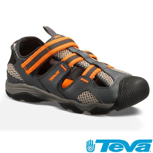 TEVA兒童護趾避震耐磨抗菌防臭運動涼鞋-TV110008JDGOR 灰/橘色[ 陽光樂活 ]