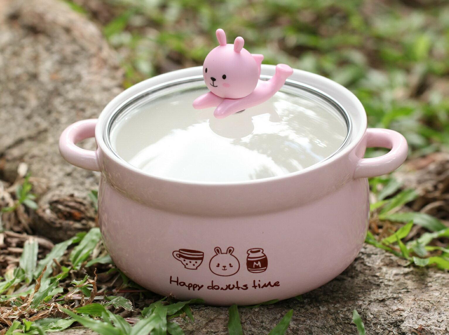 韓國卡通創意泡麵碗帶蓋雙耳陶瓷碗碗蓋可放置手機喔760g
