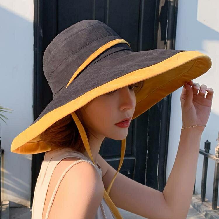 漁夫帽 夏季超大帽檐遮陽帽漁夫帽子女大沿帽防曬太陽帽遮臉防紫外線全臉    時尚學院