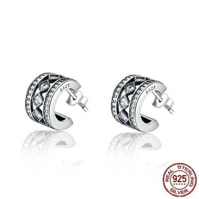 ~925純銀耳環鑲鑽耳飾~羅馬情緣閃耀精美女飾品73oh34~ ~~米蘭 ~