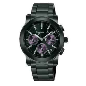 agnes b BWY058P1(V654-KP30P)(V654-0A0E鐵)夢幻紫三眼時尚腕錶/黑面38mm