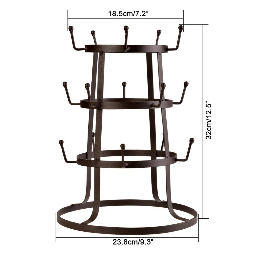 Retro Rustic Brown Iron Mug / Cup / Glass Bottle Organizer Tree Drying Rack Stand 5