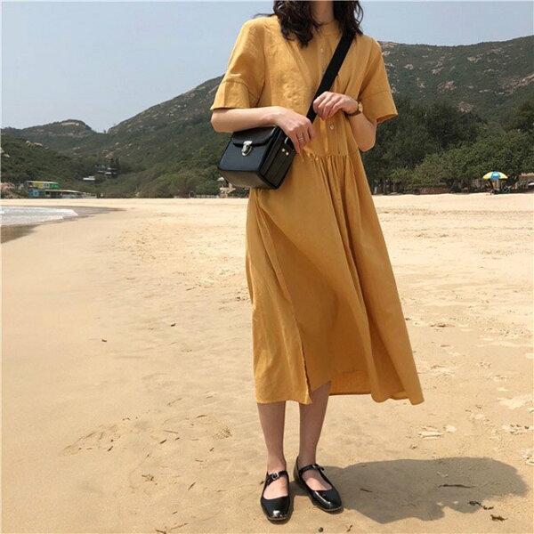 短袖洋裝排釦抓皺寬鬆腰長裙短袖洋裝連身裙【MYMX908】BOBI0621