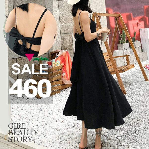 SISI【D8077】性感背殺時尚細肩吊帶鏤空露背繫帶綁結連身裙洋裝