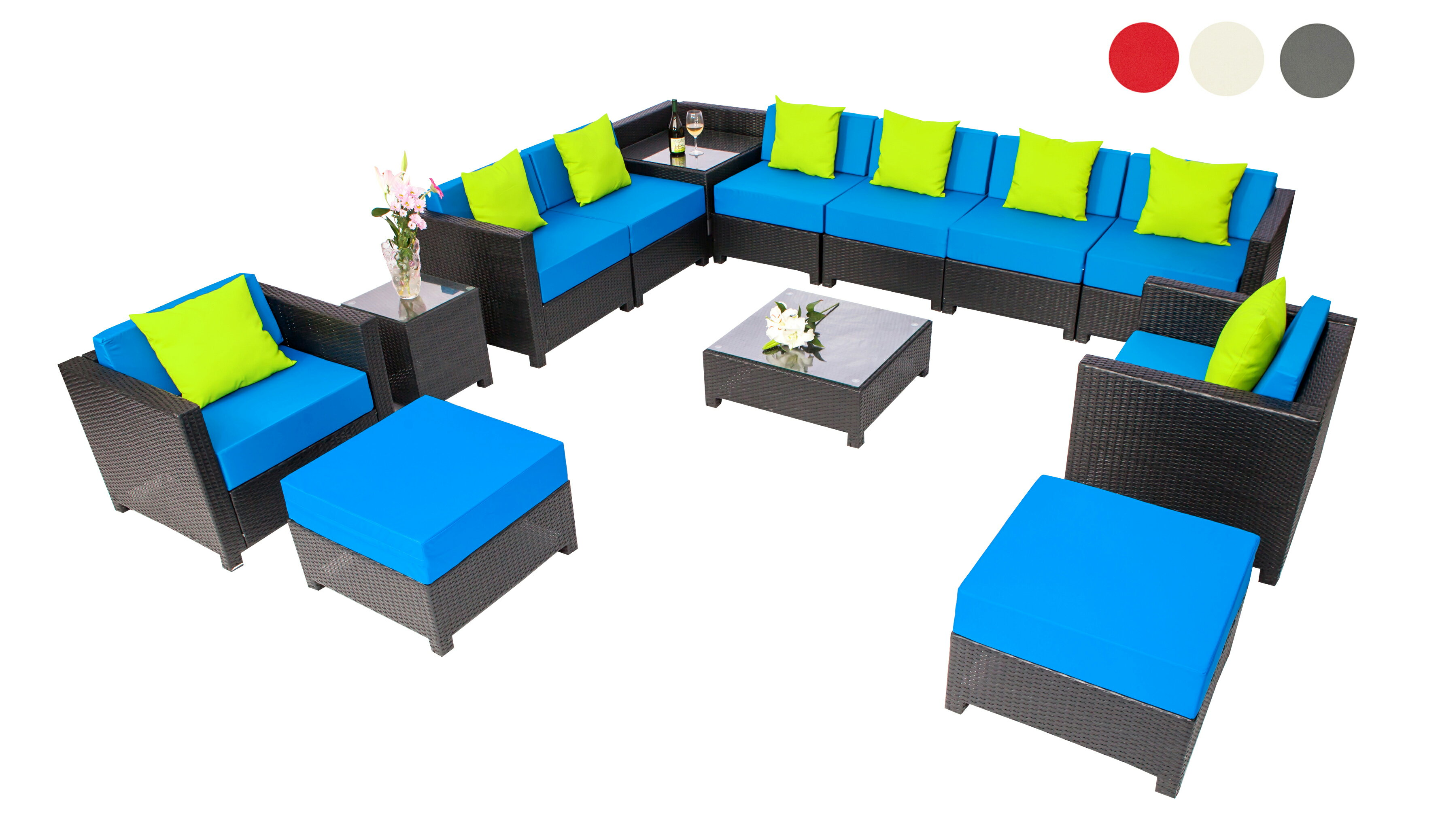Mcombo 13 Pcs Luxury Wicker Patio Sectional Indoor Outdoor Sofa Furniture Aluminum Frame Set Blue