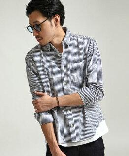日本製長袖襯衫細直條紋NAVY