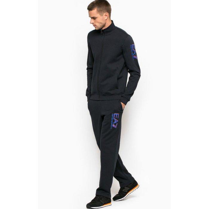 美國百分百【全新真品】Emporio Armani 立領外套夾克 褲子 長褲 運動褲 EA7 套裝 黑色 S號 H804