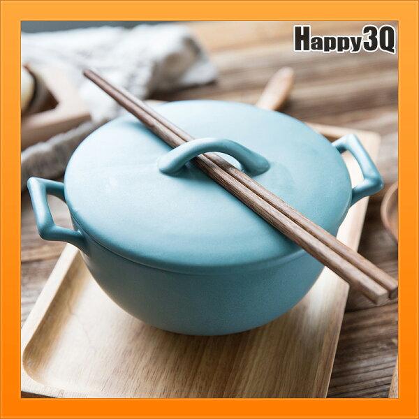 北歐配色泡麵碗日式磨砂質感雙耳碗陶瓷碗飯碗飲食碗餐具-白藍黑【AAA4355】