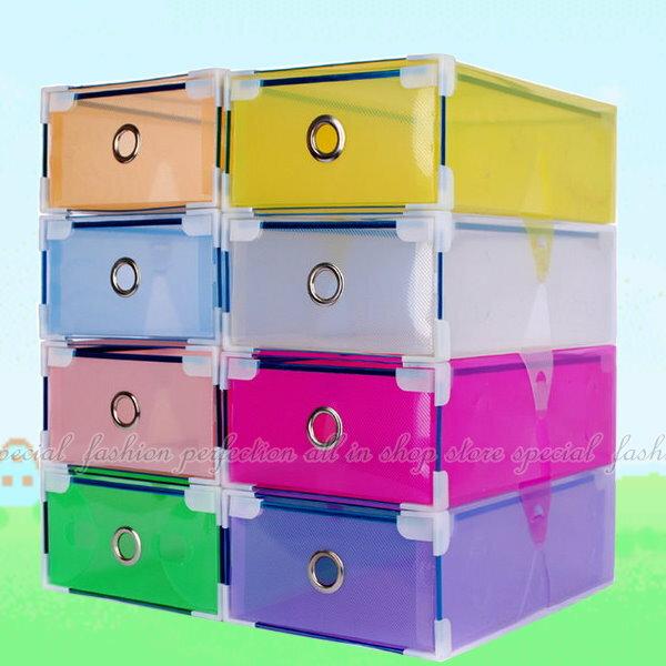 包邊抽屜式鞋盒1入 彩色鞋盒 透明鞋盒/收納鞋盒/收納盒【GC135】◎123便利屋◎