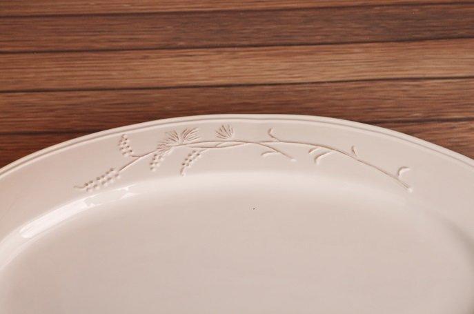 歐式白色做舊浮雕花紋陶瓷橢圓果盤 點心盤 零食盤 糕點盤 水果盤