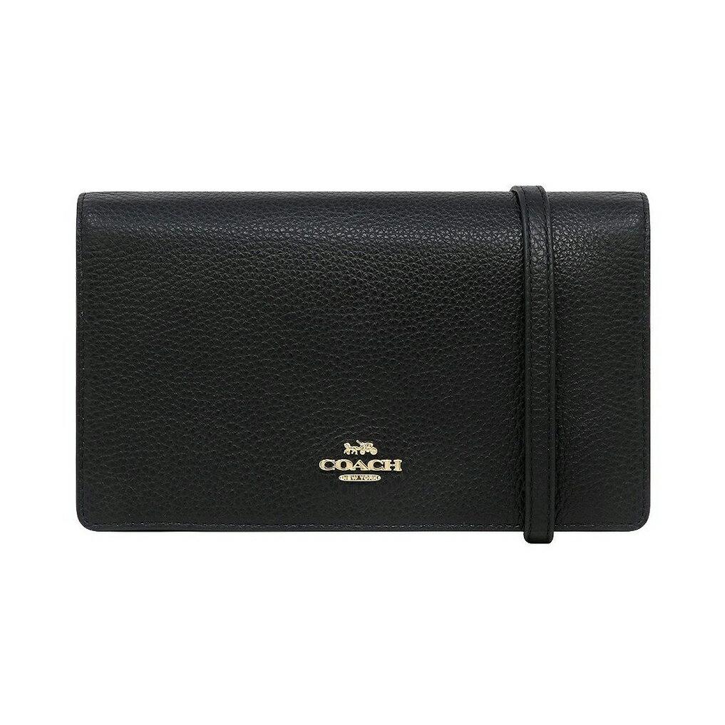 美國百分百【全新真品】COACH 小包 F30256 真皮皮包 斜背包 肩背包 女包 證件卡夾 logo 黑色 AA59