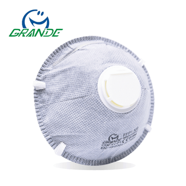 微笑牌CDC-4V碗型活性碳口罩,附呼吸閥,頭套式,歐規FFP1FFP2(10入盒)