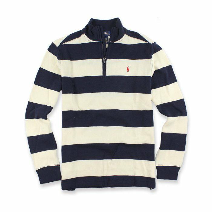 美國百分百【Ralph Lauren】針織衫 RL polo 小馬 半拉 毛衣 線衫 條紋 深藍/米白 XS號青年版 I556