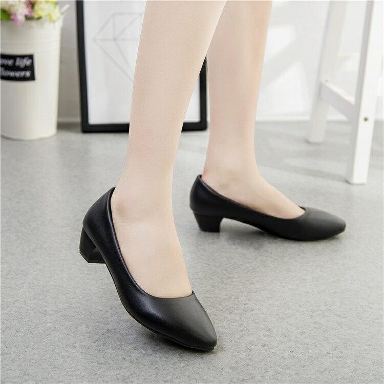 工作鞋女黑色軟面粗跟中跟低跟職業面試上班高跟舒適皮鞋正裝工鞋【限時八折】