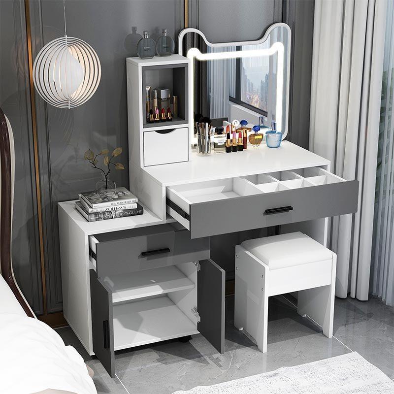 梳妝臺臥室現代簡約收納柜一體小型網紅ins風輕奢高檔化妝臺桌pd
